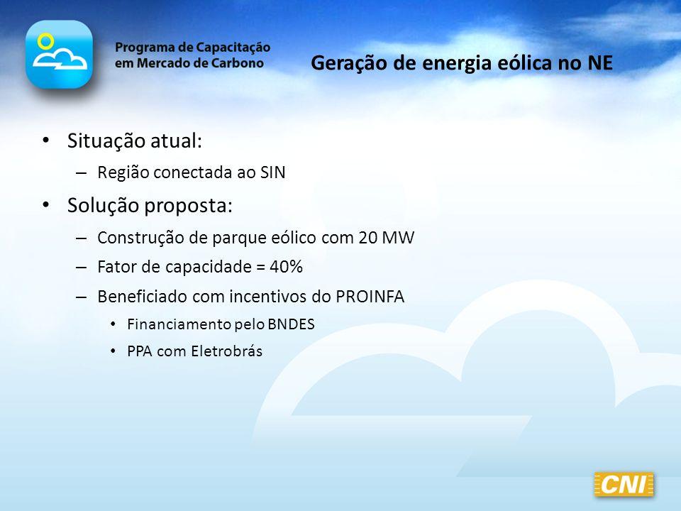 Geração de energia eólica no NE Situação atual: – Região conectada ao SIN Solução proposta: – Construção de parque eólico com 20 MW – Fator de capacid