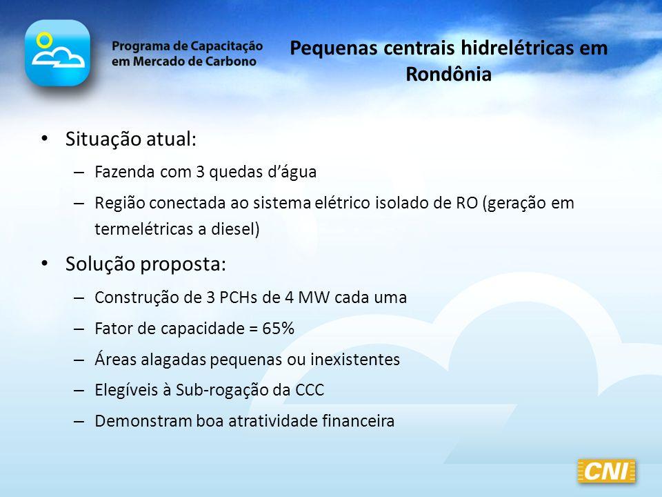 Pequenas centrais hidrelétricas em Rondônia Situação atual: – Fazenda com 3 quedas dágua – Região conectada ao sistema elétrico isolado de RO (geração