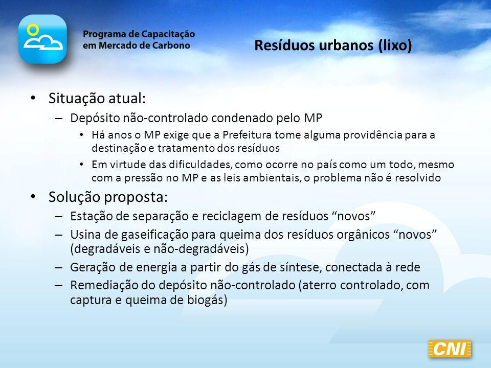 Resíduos urbanos (lixo) Situação atual: – Depósito não-controlado condenado pelo MP Há anos o MP exige que a Prefeitura tome alguma providência para a