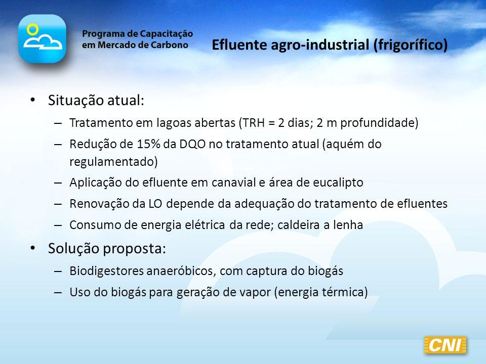 Efluente agro-industrial (frigorífico) Situação atual: – Tratamento em lagoas abertas (TRH = 2 dias; 2 m profundidade) – Redução de 15% da DQO no trat