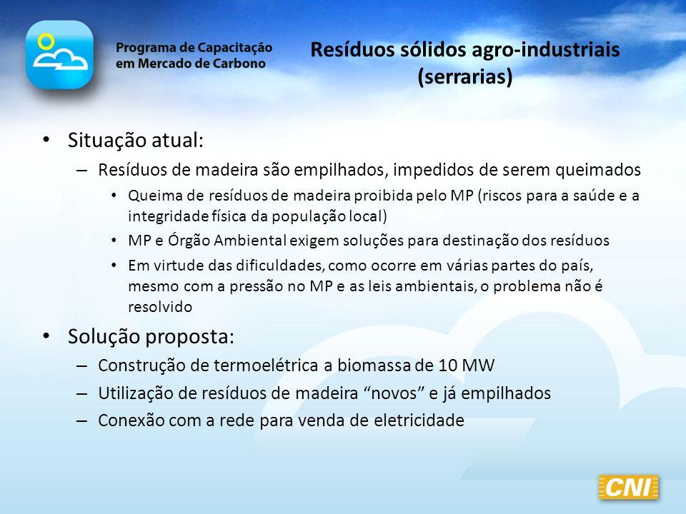 Resíduos sólidos agro-industriais (serrarias) Situação atual: – Resíduos de madeira são empilhados, impedidos de serem queimados Queima de resíduos de