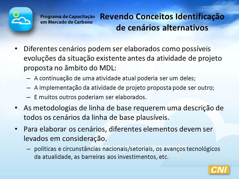 Revendo Conceitos Identificação de cenários alternativos Diferentes cenários podem ser elaborados como possíveis evoluções da situação existente antes