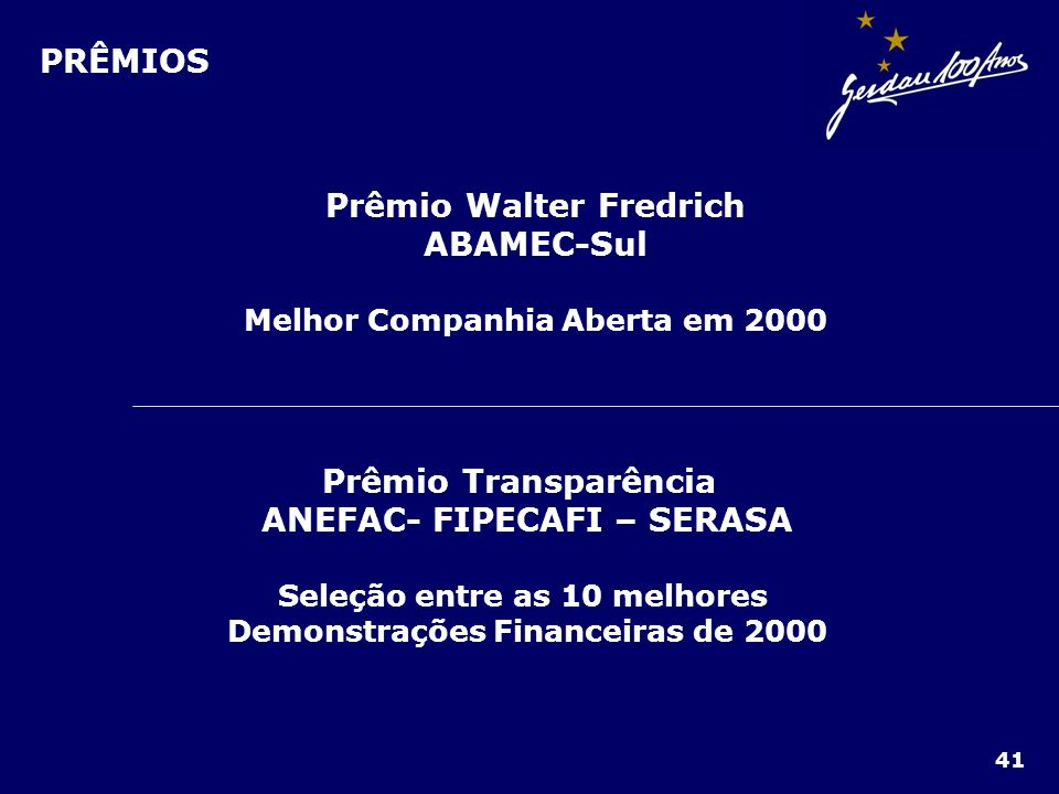 PRÊMIOS Prêmio Walter Fredrich ABAMEC-Sul Melhor Companhia Aberta em 2000 Prêmio Transparência ANEFAC- FIPECAFI – SERASA Seleção entre as 10 melhores