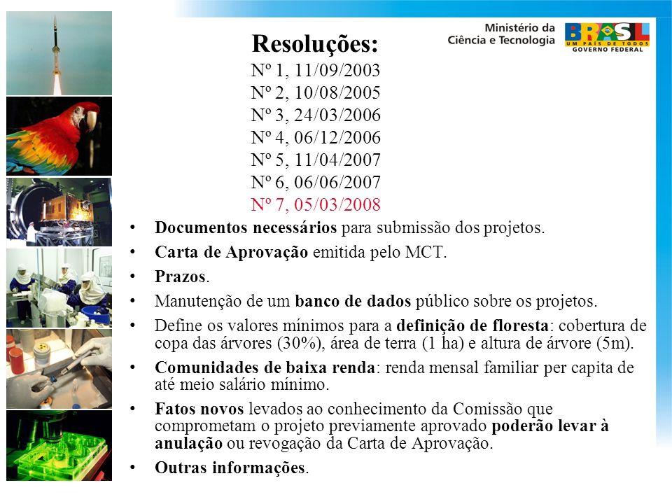 Resoluções: Nº 1, 11/09/2003 Nº 2, 10/08/2005 Nº 3, 24/03/2006 Nº 4, 06/12/2006 Nº 5, 11/04/2007 Nº 6, 06/06/2007 Nº 7, 05/03/2008 Documentos necessários para submissão dos projetos.