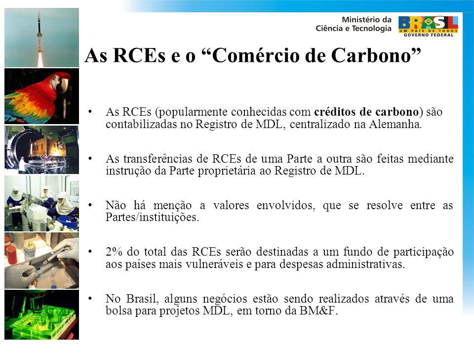 As RCEs e o Comércio de Carbono As RCEs (popularmente conhecidas com créditos de carbono) são contabilizadas no Registro de MDL, centralizado na Alemanha.