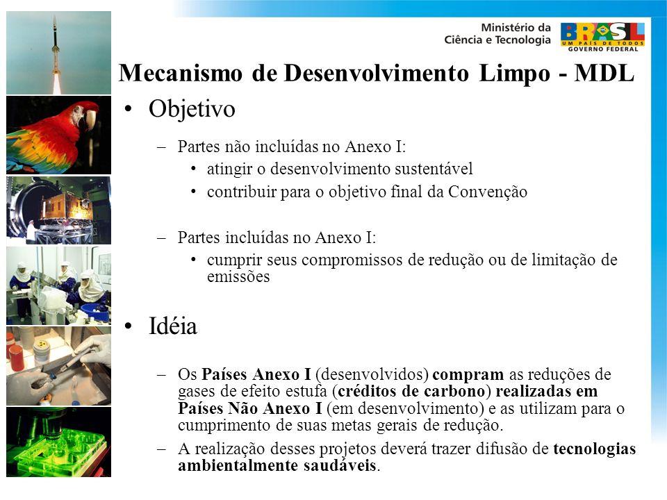 Mecanismo de Desenvolvimento Limpo - MDL Objetivo –Partes não incluídas no Anexo I: atingir o desenvolvimento sustentável contribuir para o objetivo final da Convenção –Partes incluídas no Anexo I: cumprir seus compromissos de redução ou de limitação de emissões Idéia –Os Países Anexo I (desenvolvidos) compram as reduções de gases de efeito estufa (créditos de carbono) realizadas em Países Não Anexo I (em desenvolvimento) e as utilizam para o cumprimento de suas metas gerais de redução.