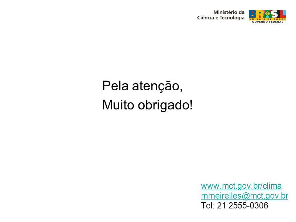 www.mct.gov.br/clima mmeirelles@mct.gov.br Tel: 21 2555-0306 Pela atenção, Muito obrigado!