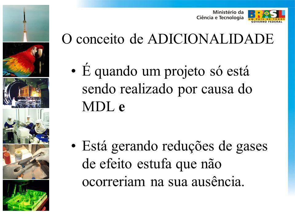 O conceito de ADICIONALIDADE É quando um projeto só está sendo realizado por causa do MDL e Está gerando reduções de gases de efeito estufa que não ocorreriam na sua ausência.