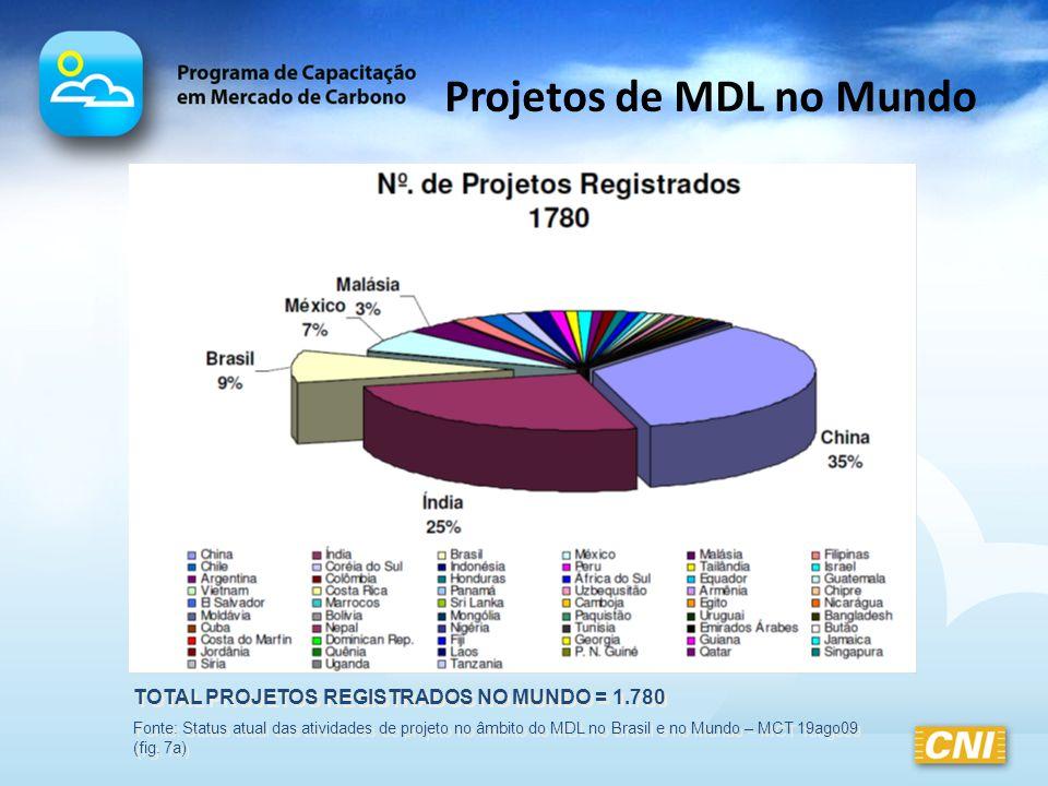 Projetos de MDL no Mundo TOTAL PROJETOS REGISTRADOS NO MUNDO = 1.780 Fonte: Status atual das atividades de projeto no âmbito do MDL no Brasil e no Mun