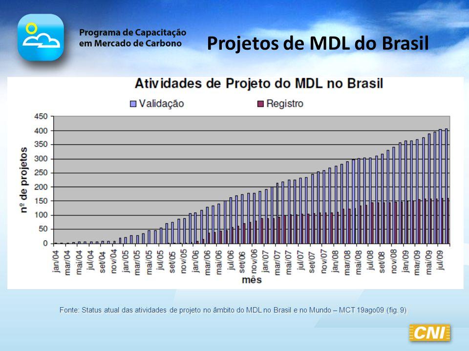 Projetos de MDL do Brasil Fonte: Status atual das atividades de projeto no âmbito do MDL no Brasil e no Mundo – MCT 19ago09 (fig. 9)