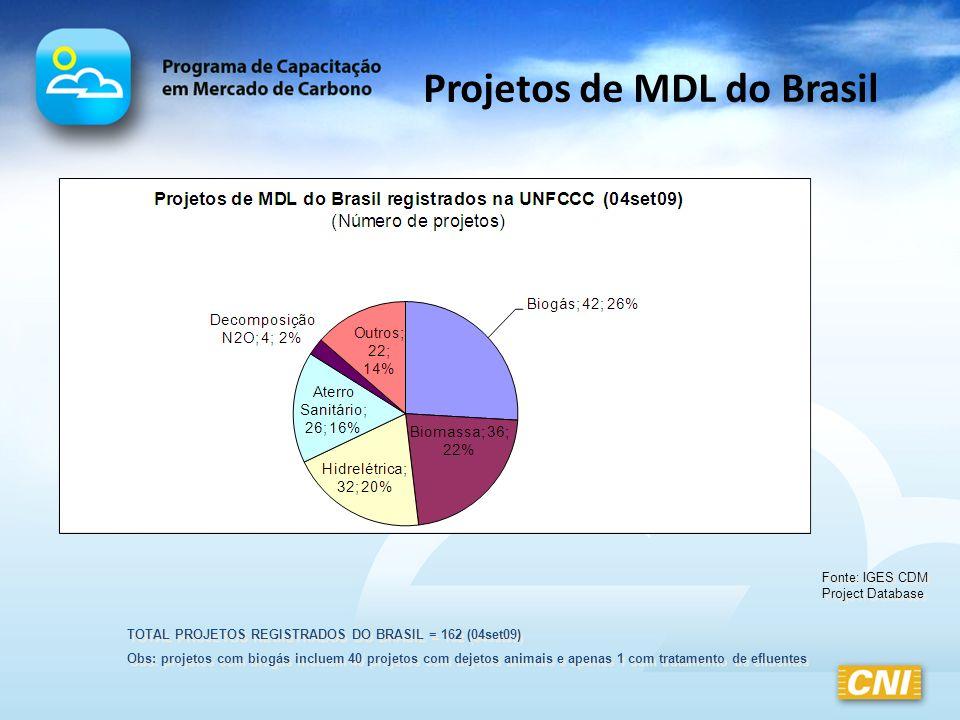 Projetos de MDL do Brasil TOTAL PROJETOS REGISTRADOS DO BRASIL = 162 (04set09) Obs: projetos com biogás incluem 40 projetos com dejetos animais e apen