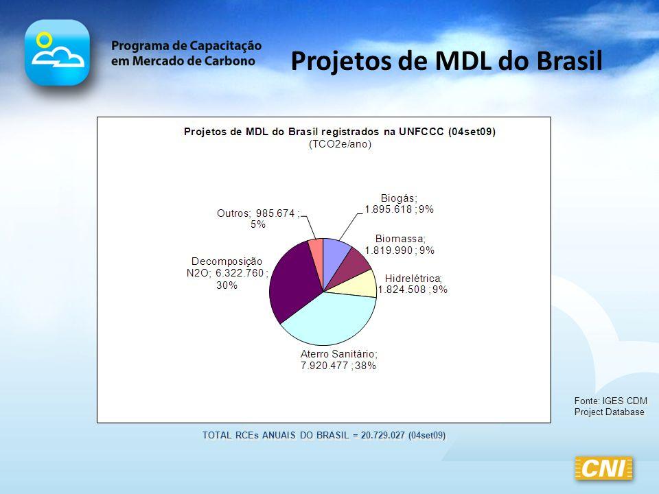 Projetos de MDL do Brasil Fonte: IGES CDM Project Database TOTAL RCEs ANUAIS DO BRASIL = 20.729.027 (04set09)