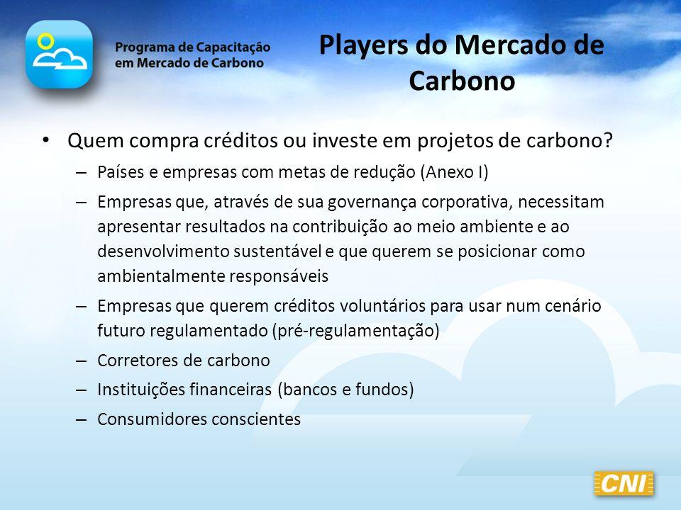 Players do Mercado de Carbono Quem compra créditos ou investe em projetos de carbono? – Países e empresas com metas de redução (Anexo I) – Empresas qu