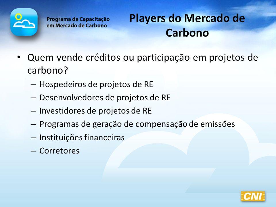 Players do Mercado de Carbono Quem vende créditos ou participação em projetos de carbono? – Hospedeiros de projetos de RE – Desenvolvedores de projeto