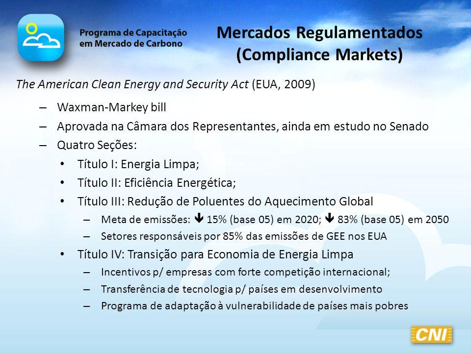 Mercados Regulamentados (Compliance Markets) The American Clean Energy and Security Act (EUA, 2009) – Waxman-Markey bill – Aprovada na Câmara dos Repr