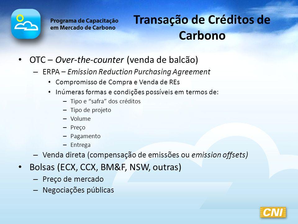 Transação de Créditos de Carbono OTC – Over-the-counter (venda de balcão) – ERPA – Emission Reduction Purchasing Agreement Compromisso de Compra e Ven