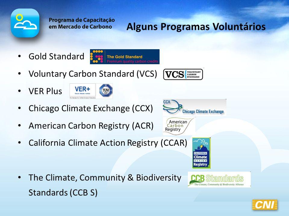 Alguns Programas Voluntários Gold Standard Voluntary Carbon Standard (VCS) VER Plus Chicago Climate Exchange (CCX) American Carbon Registry (ACR) Cali