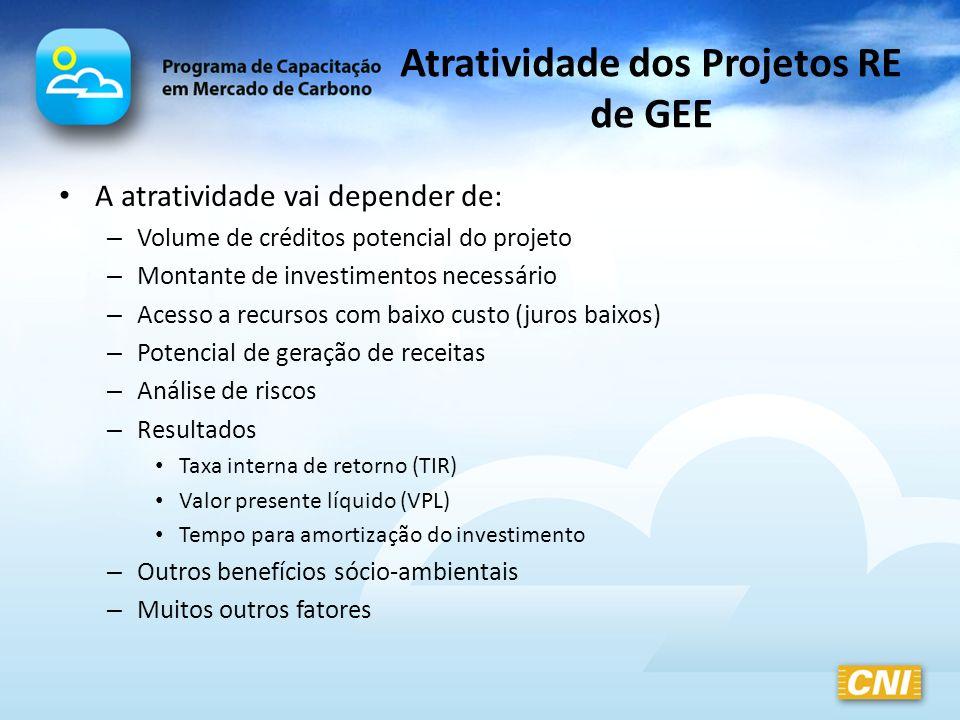 Atratividade dos Projetos RE de GEE A atratividade vai depender de: – Volume de créditos potencial do projeto – Montante de investimentos necessário –