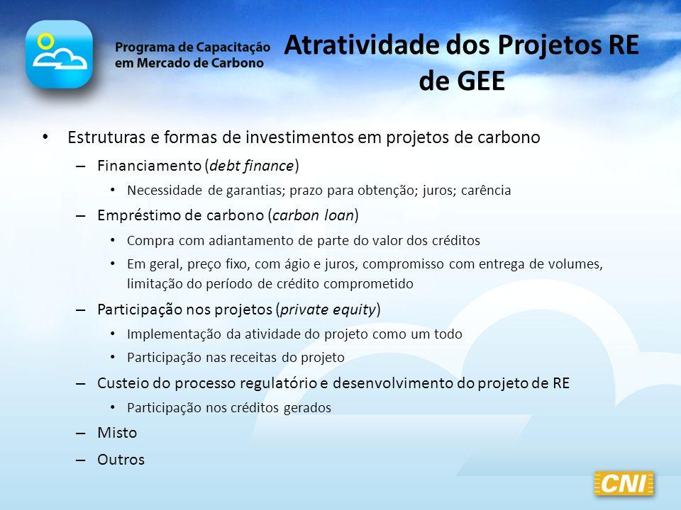 Atratividade dos Projetos RE de GEE Estruturas e formas de investimentos em projetos de carbono – Financiamento (debt finance) Necessidade de garantia