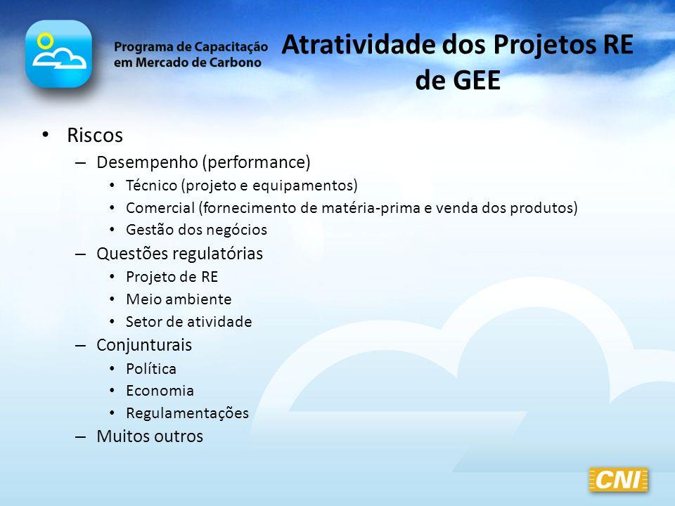 Atratividade dos Projetos RE de GEE Riscos – Desempenho (performance) Técnico (projeto e equipamentos) Comercial (fornecimento de matéria-prima e vend