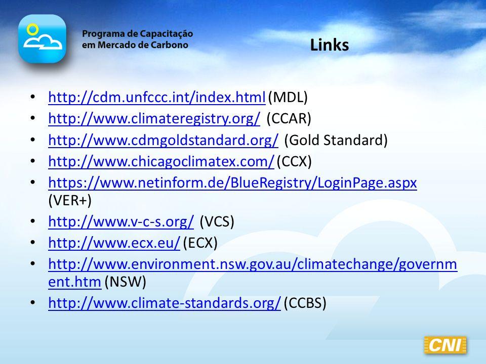 Links http://cdm.unfccc.int/index.html (MDL) http://cdm.unfccc.int/index.html http://www.climateregistry.org/ (CCAR) http://www.climateregistry.org/ h