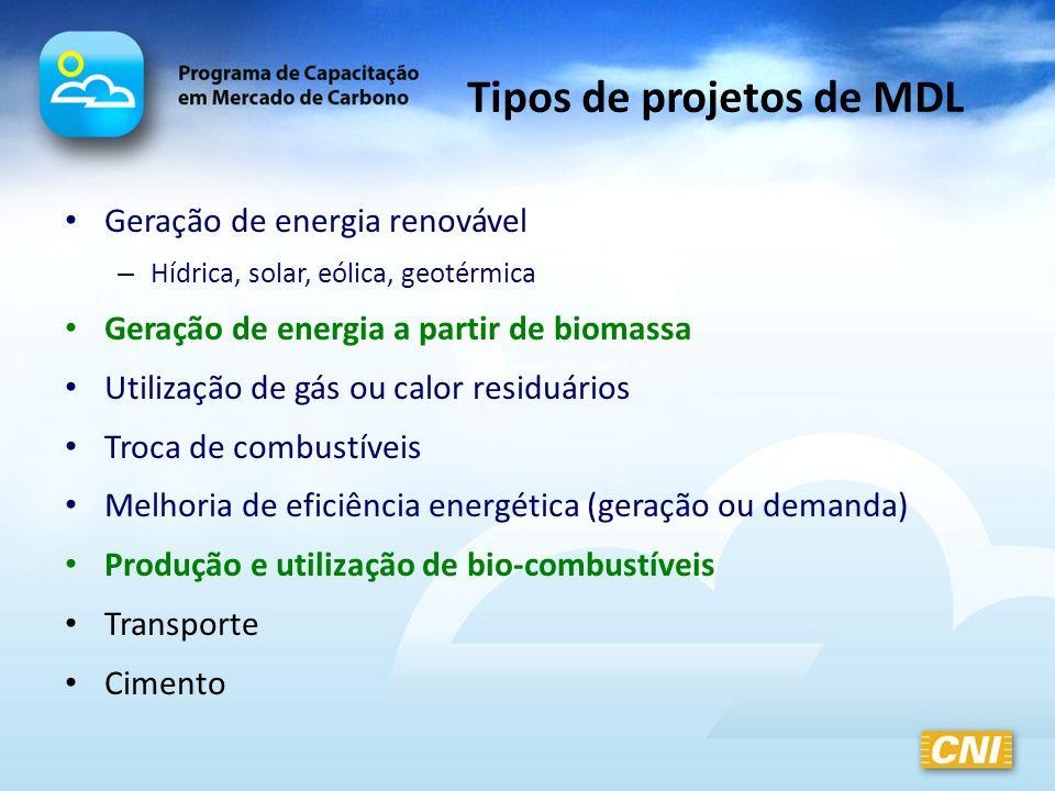 Tipos de projetos de MDL Geração de energia renovável – Hídrica, solar, eólica, geotérmica Geração de energia a partir de biomassa Utilização de gás o