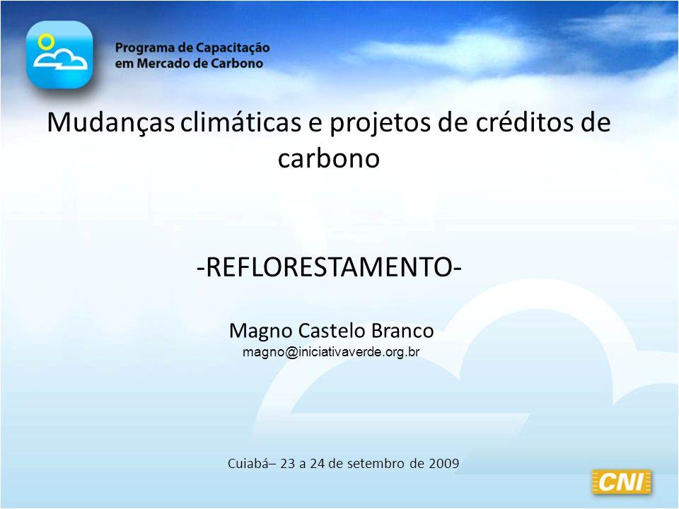 Mudanças climáticas e projetos de créditos de carbono -REFLORESTAMENTO- Cuiabá– 23 a 24 de setembro de 2009 Magno Castelo Branco magno@iniciativaverde