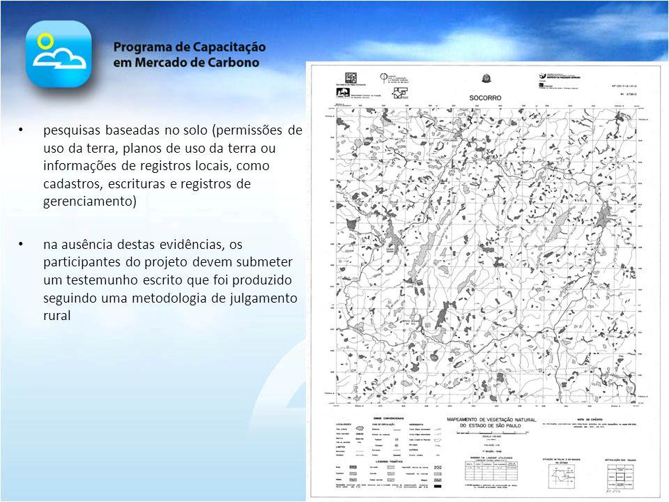 pesquisas baseadas no solo (permissões de uso da terra, planos de uso da terra ou informações de registros locais, como cadastros, escrituras e regist