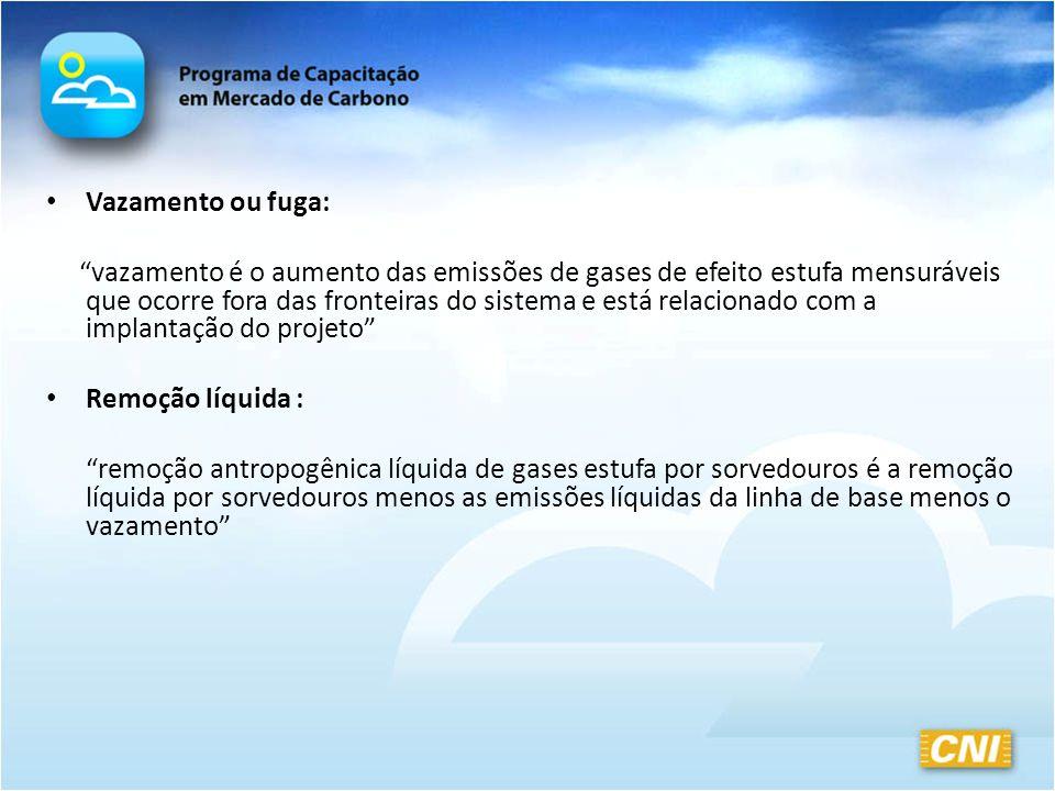 Vazamento ou fuga: vazamento é o aumento das emissões de gases de efeito estufa mensuráveis que ocorre fora das fronteiras do sistema e está relaciona