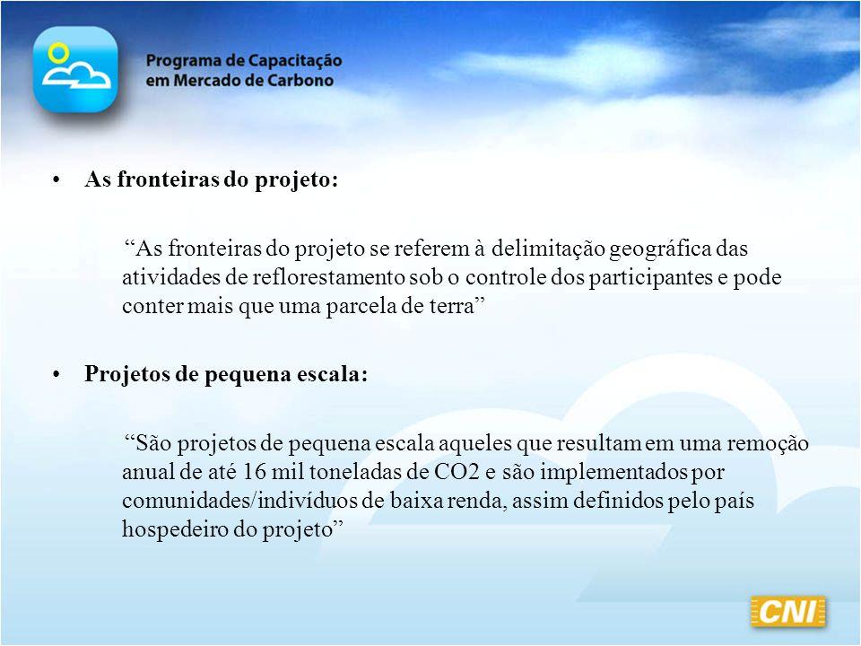 As fronteiras do projeto: As fronteiras do projeto se referem à delimitação geográfica das atividades de reflorestamento sob o controle dos participan