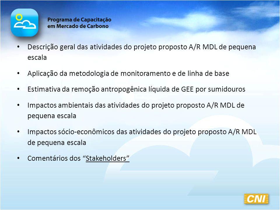 Descrição geral das atividades do projeto proposto A/R MDL de pequena escala Aplicação da metodologia de monitoramento e de linha de base Estimativa d