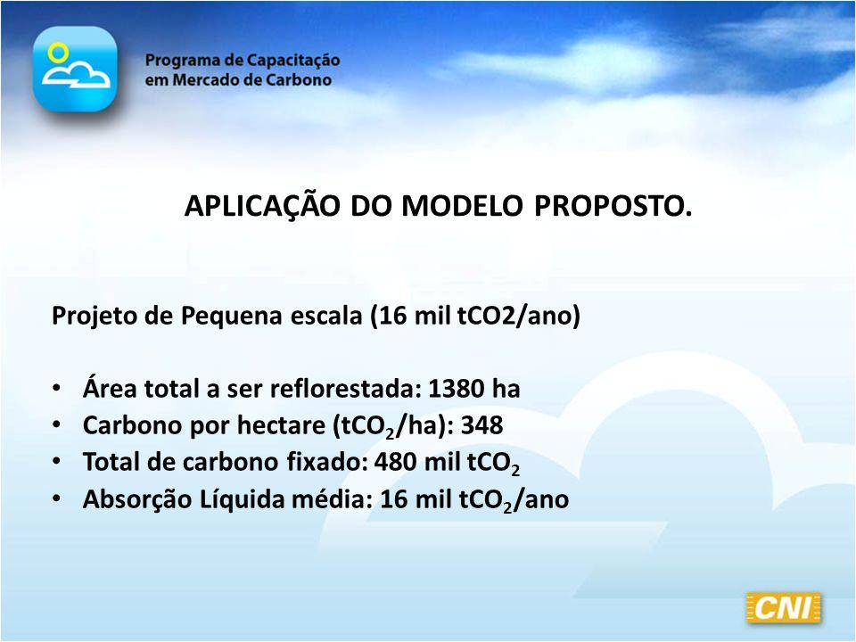 APLICAÇÃO DO MODELO PROPOSTO. Projeto de Pequena escala (16 mil tCO2/ano) Área total a ser reflorestada: 1380 ha Carbono por hectare (tCO 2 /ha): 348