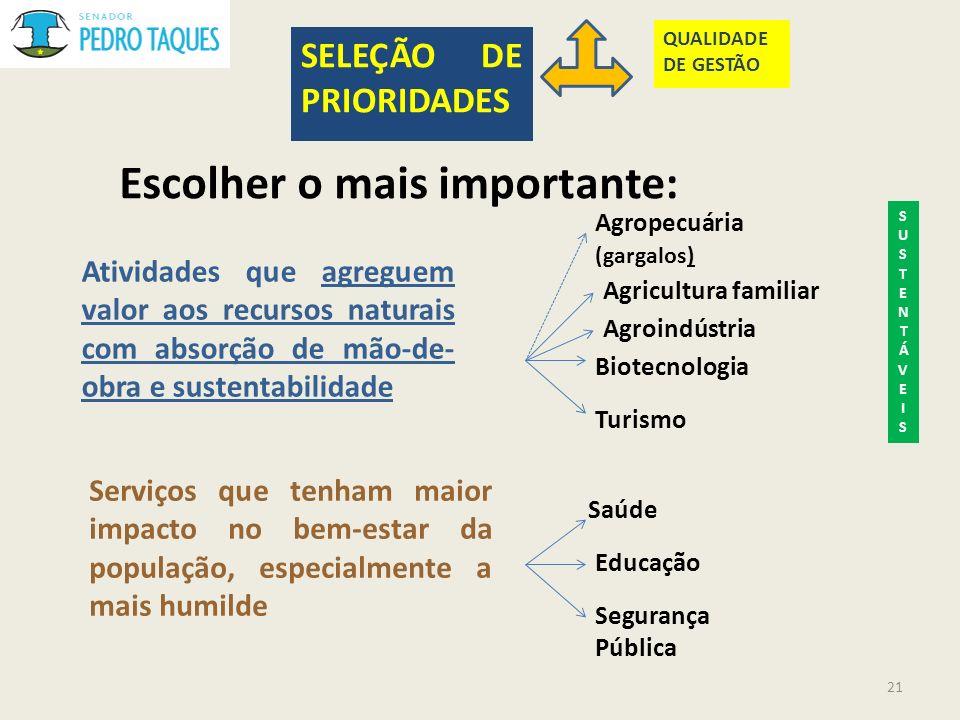 Escolher o mais importante: SELEÇÃO DE PRIORIDADES QUALIDADE DE GESTÃO Atividades que agreguem valor aos recursos naturais com absorção de mão-de- obr