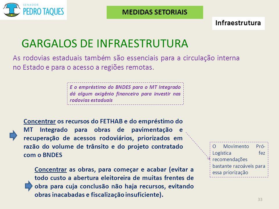 GARGALOS DE INFRAESTRUTURA As rodovias estaduais também são essenciais para a circulação interna no Estado e para o acesso a regiões remotas. Concentr