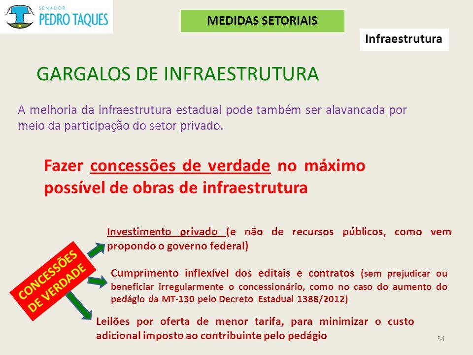GARGALOS DE INFRAESTRUTURA A melhoria da infraestrutura estadual pode também ser alavancada por meio da participação do setor privado. Fazer concessõe