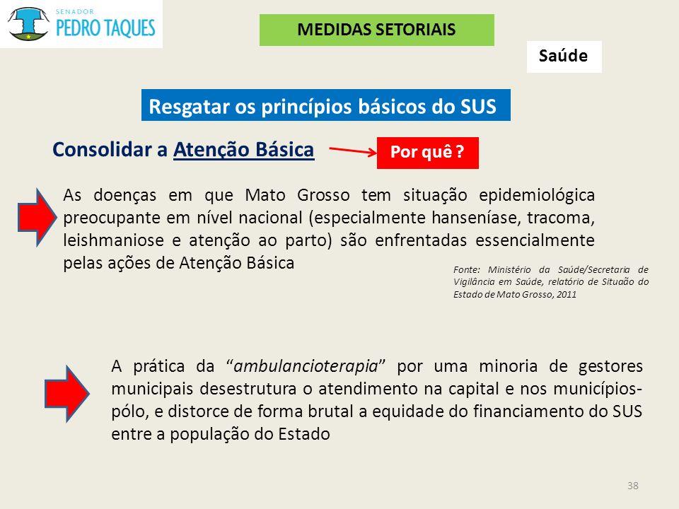 Saúde Resgatar os princípios básicos do SUS Consolidar a Atenção Básica A prática da ambulancioterapia por uma minoria de gestores municipais desestru