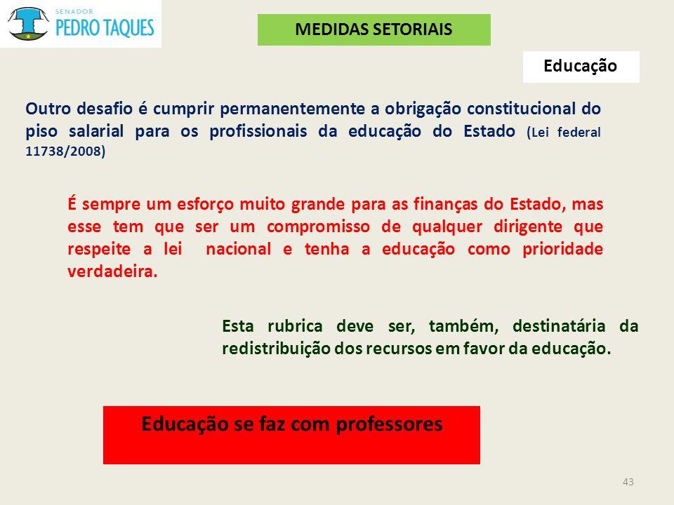 Educação Outro desafio é cumprir permanentemente a obrigação constitucional do piso salarial para os profissionais da educação do Estado (Lei federal