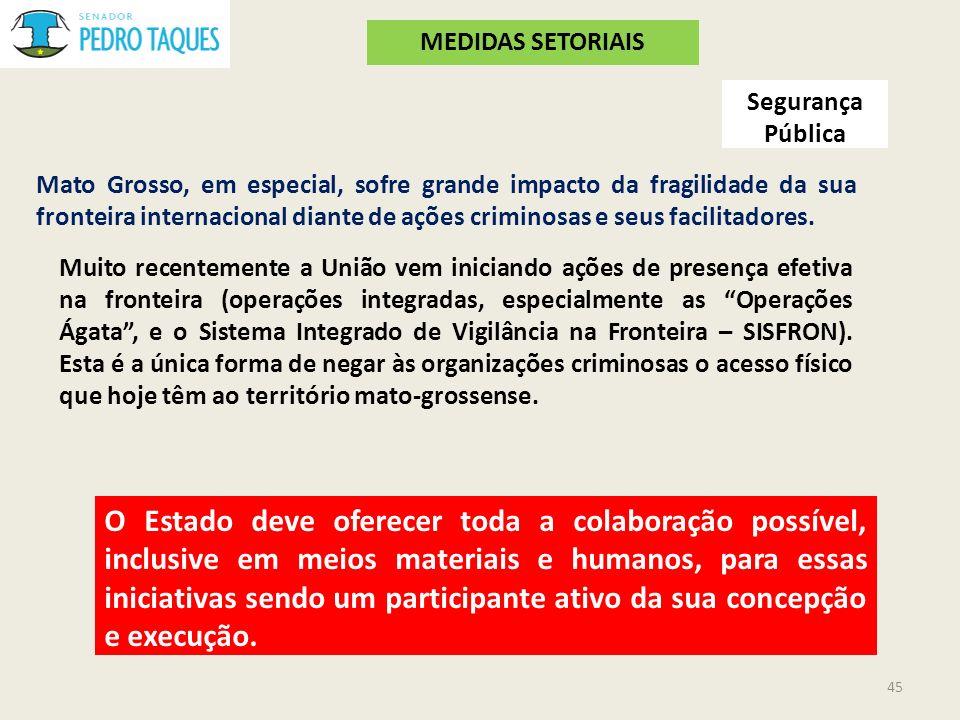 Segurança Pública Mato Grosso, em especial, sofre grande impacto da fragilidade da sua fronteira internacional diante de ações criminosas e seus facil