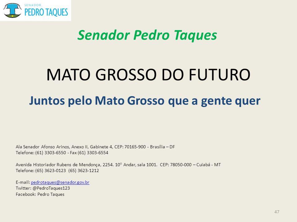 MATO GROSSO DO FUTURO Juntos pelo Mato Grosso que a gente quer Senador Pedro Taques Ala Senador Afonso Arinos, Anexo II, Gabinete 4, CEP: 70165-900 -