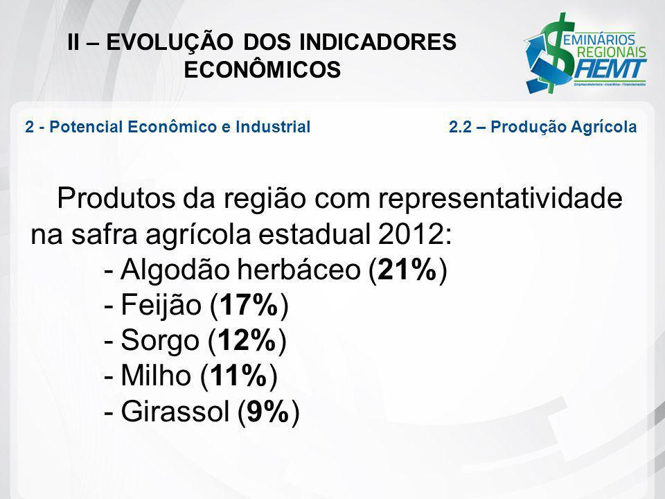 II – EVOLUÇÃO DOS INDICADORES ECONÔMICOS Produtos da região com representatividade na safra agrícola estadual 2012: -Algodão herbáceo (21%) -Feijão (1