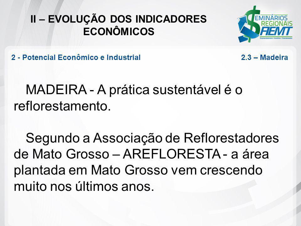 II – EVOLUÇÃO DOS INDICADORES ECONÔMICOS MADEIRA - A prática sustentável é o reflorestamento. Segundo a Associação de Reflorestadores de Mato Grosso –