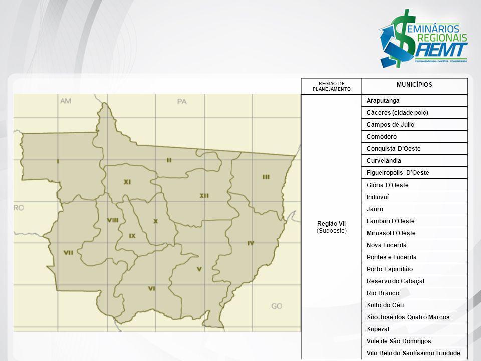 REGIÃO DE PLANEJAMENTO MUNICÍPIOS Região VII (Sudoeste) Araputanga Cáceres (cidade polo) Campos de Júlio Comodoro Conquista DOeste Curvelândia Figueir