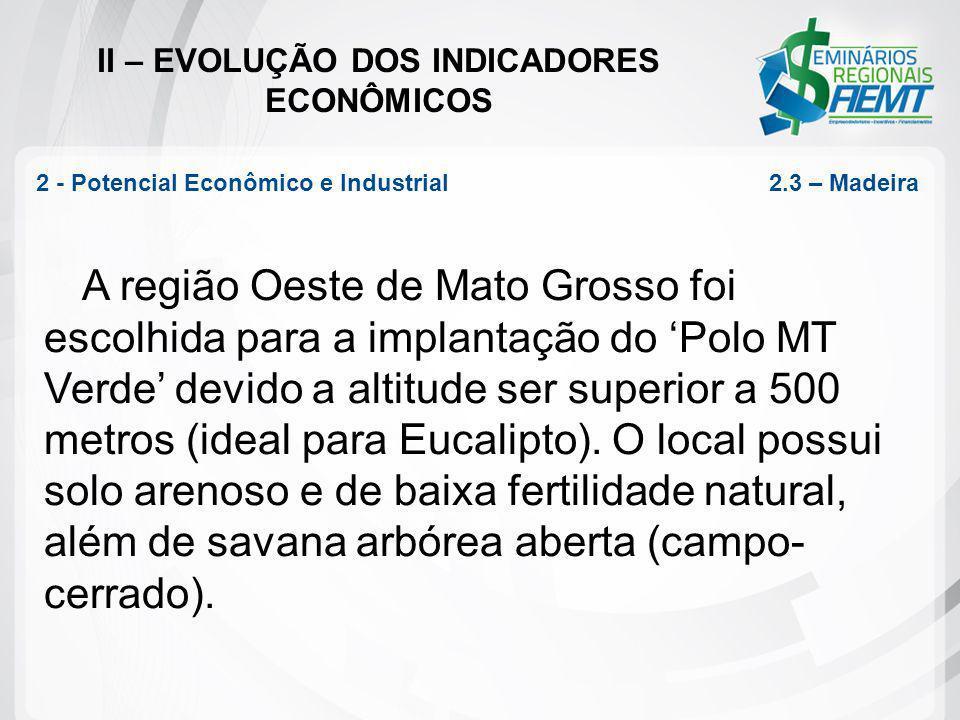 II – EVOLUÇÃO DOS INDICADORES ECONÔMICOS A região Oeste de Mato Grosso foi escolhida para a implantação do Polo MT Verde devido a altitude ser superio