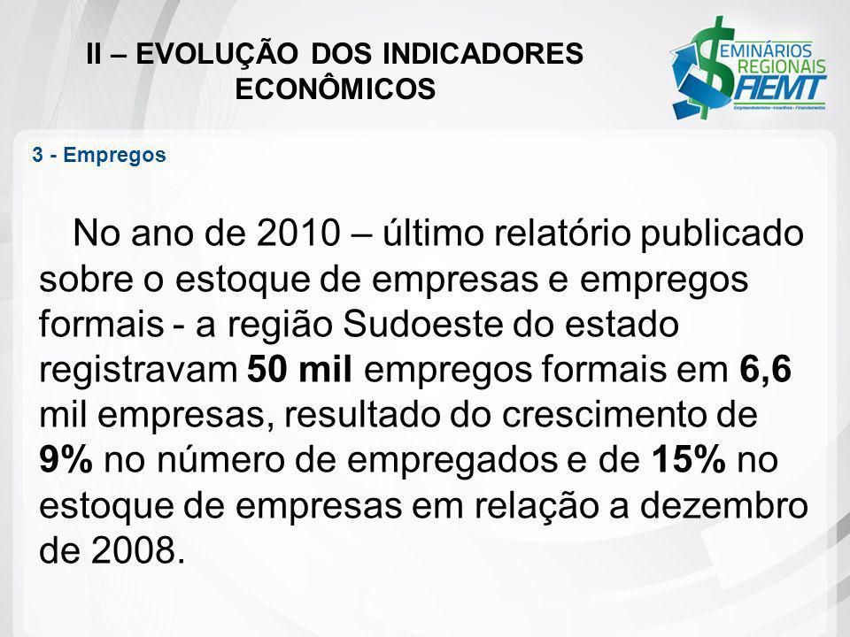 II – EVOLUÇÃO DOS INDICADORES ECONÔMICOS 3 - Empregos No ano de 2010 – último relatório publicado sobre o estoque de empresas e empregos formais - a r