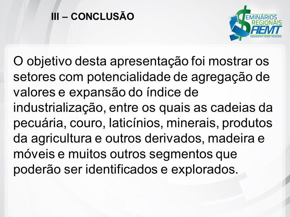 III – CONCLUSÃO O objetivo desta apresentação foi mostrar os setores com potencialidade de agregação de valores e expansão do índice de industrializaç