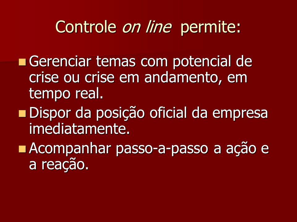 Controle on line permite: Controle on line permite: Gerenciar temas com potencial de crise ou crise em andamento, em tempo real. Gerenciar temas com p