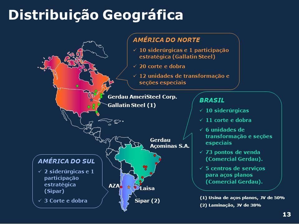 Distribuição Geográfica (2) Laminação, JV de 38% (1) Usina de aços planos, JV de 50% AMÉRICA DO SUL 2 siderúrgicas e 1 participação estratégica (Sipar