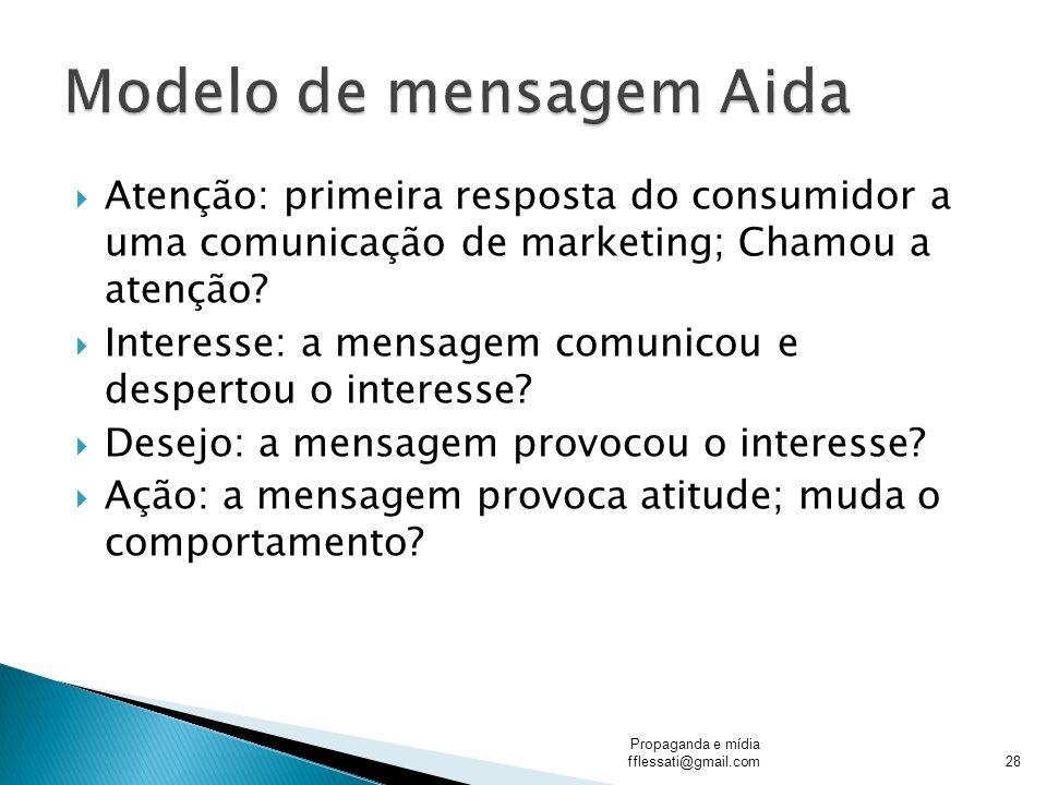 Atenção: primeira resposta do consumidor a uma comunicação de marketing; Chamou a atenção? Interesse: a mensagem comunicou e despertou o interesse? De