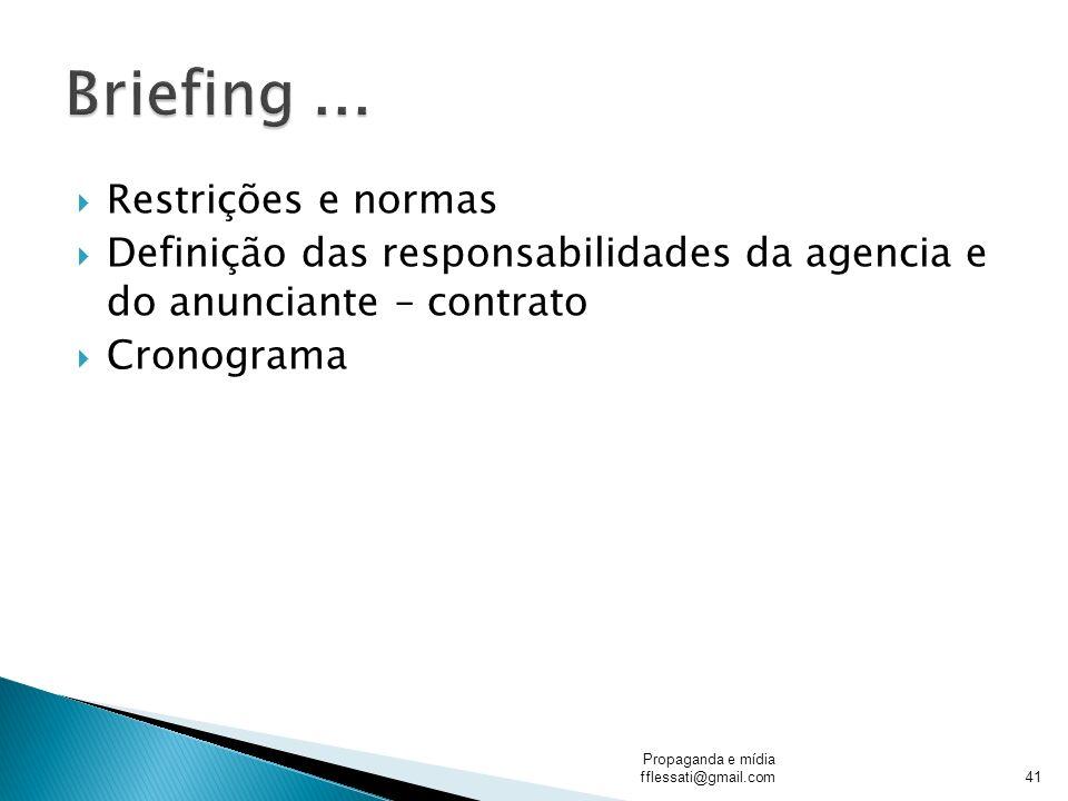 Restrições e normas Definição das responsabilidades da agencia e do anunciante – contrato Cronograma Propaganda e mídia fflessati@gmail.com41