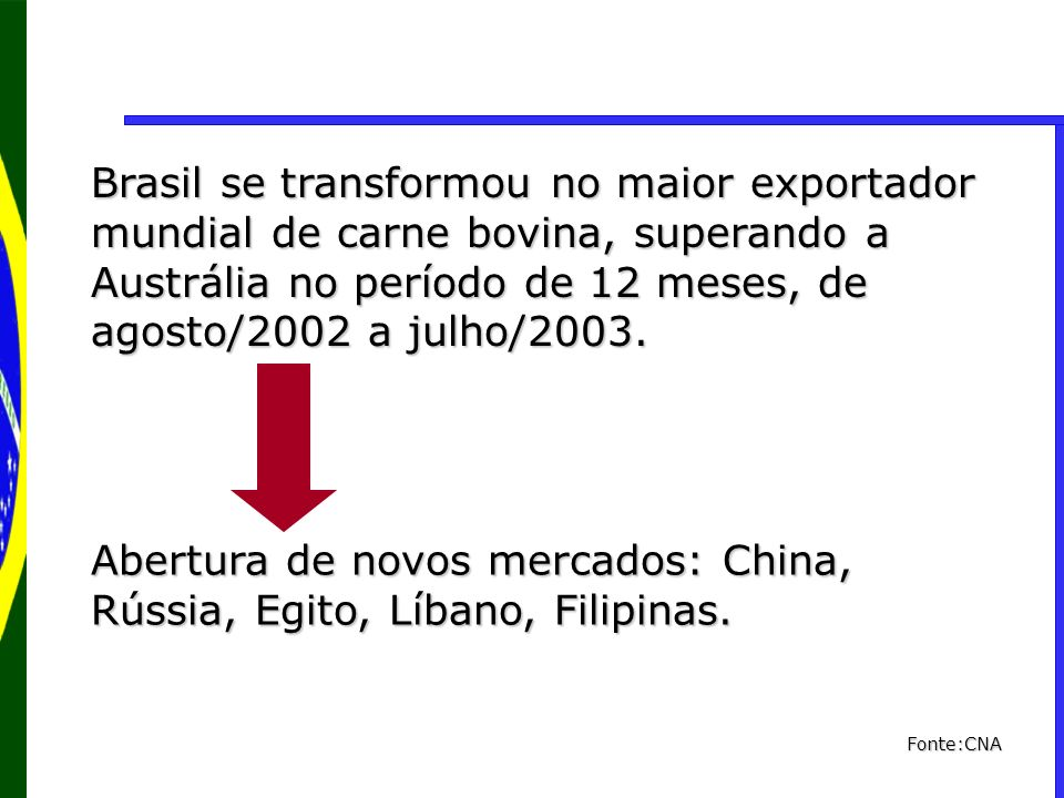 Brasil se transformou no maior exportador mundial de carne bovina, superando a Austrália no período de 12 meses, de agosto/2002 a julho/2003. Abertura